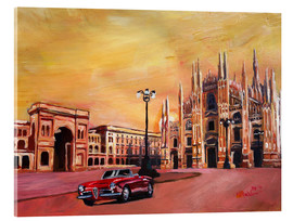 Acrylic print  Milan Cathedral with Oldtimer Convertible Alfa Romeo - M. Bleichner