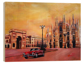 Wood print  Milan Cathedral with Oldtimer Convertible Alfa Romeo - M. Bleichner
