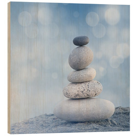 Wood print  Stone cairn VI - Andrea Haase Foto