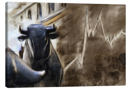 Canvas print  Bull in front of Frankfurt Stock Exchange - Michael artefacti
