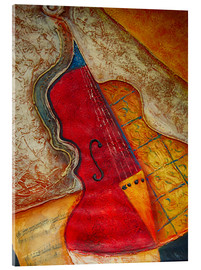 Acrylic print  Violin violin music abstract painting orange structure - Michael artefacti