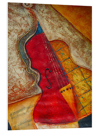 Foam board print  Violin violin music abstract painting orange structure - Michael artefacti