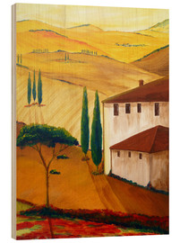 Wood print  Idyllic Tuscany - Christine Huwer