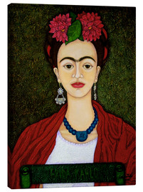 Canvas print  Frida portrait with dahlias - Madalena Lobao-Tello
