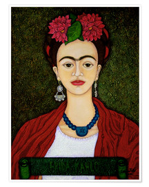 Poster  Frida Kahlo portrait with dalias - Madalena Lobao-Tello