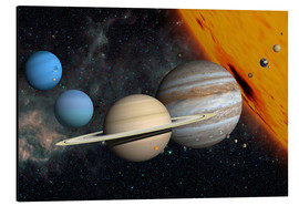 Aluminium print  Planets and moons - Ron Miller