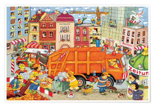 Premium poster The garbage truck comes