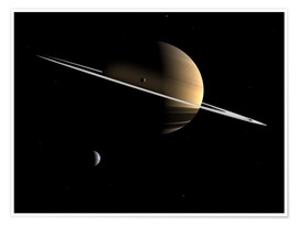 Premium poster  Saturn and its moons Dione and Tethys - Walter Myers