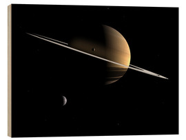 Wood print  Saturn and its moons Dione and Tethys - Walter Myers