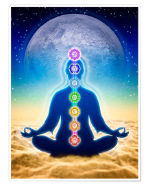Premium poster In Meditation With Chakras - Blue Moon Edition