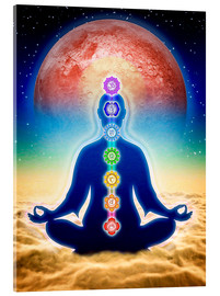 Acrylic print  In meditation with chakras - red moon edition - Dirk Czarnota