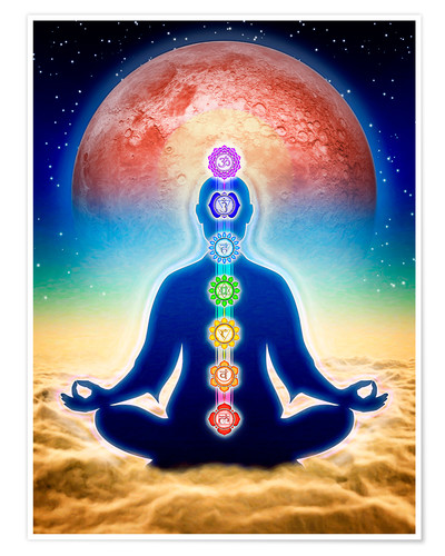 Premium poster In meditation with chakras - red moon edition