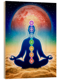Wood print  In meditation with chakras - red moon edition - Dirk Czarnota