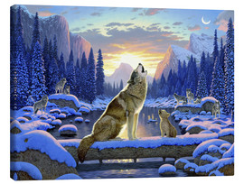 Canvas print  Wolf learns the howling - Chris Hiett
