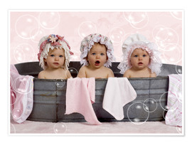 Premium poster  Toddlers in flowery bonnets - Eva Freyss