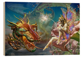 Wood print  The dragon and the fairy - Adrian Chesterman
