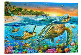 Acrylic print  Underwater turtles - Adrian Chesterman