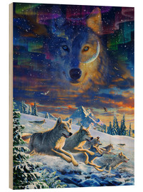 Wood print  Moonlight Wolfpack - Adrian Chesterman