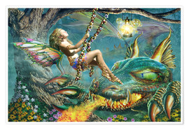 Premium poster Dragon and fairy swing