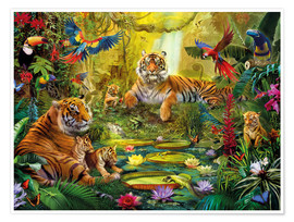 Premium poster  Tiger Family in the Jungle - Jan Patrik Krasny