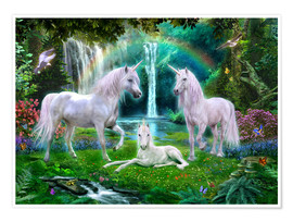 Premium poster Rainbow unicorn family