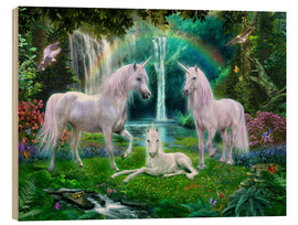 Wood print  Rainbow unicorn family - Jan Patrik Krasny