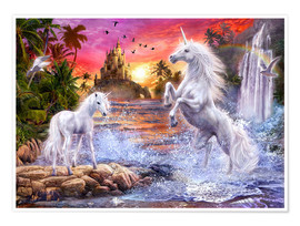 Premium poster  Unicorn waterfall sunset - Jan Patrik Krasny