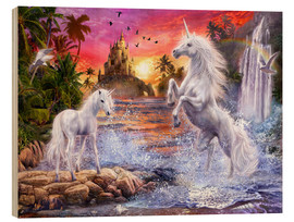 Wood print  Unicorn waterfall sunset - Jan Patrik Krasny