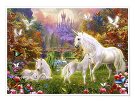 Premium poster  The castle unicorns - Jan Patrik Krasny