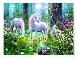 Premium poster  Forest unicorn family - Jan Patrik Krasny