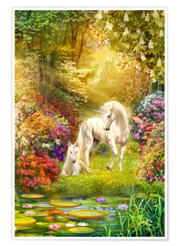 Premium poster  Unicorns in the garden - Jan Patrik Krasny