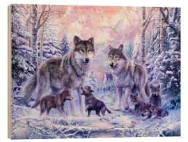 Wood print  Winter wolf family - Jan Patrik Krasny