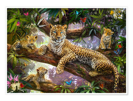 Premium poster  Tree Top Leopard Family - Jan Patrik Krasny