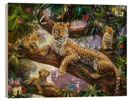 Wood print  Tree Top Leopard Family - Jan Patrik Krasny