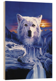 Wood print  Wolf waterfall - Robin Koni