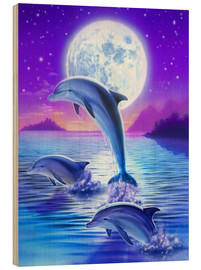 Wood print  Dolphins at midnight - Robin Koni
