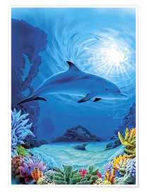 Premium poster Camouflage dolphins