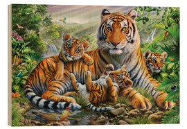Wood print  Tiger and Cubs - Adrian Chesterman