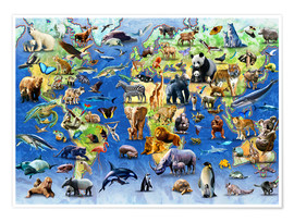 Premium poster  One Hundred Endangered Species - Adrian Chesterman