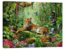 Canvas  Tiger in the jungle - Adrian Chesterman