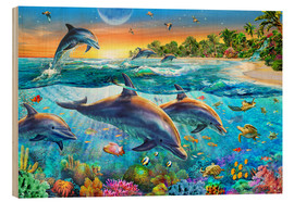 Wood print  Dolphin bay - Adrian Chesterman