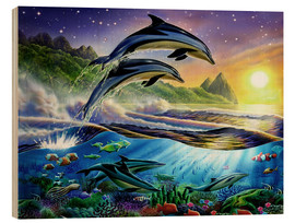 Wood print  Atlantic dolphins - Adrian Chesterman