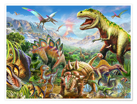 Premium poster  Group of Dinosaurs - Adrian Chesterman