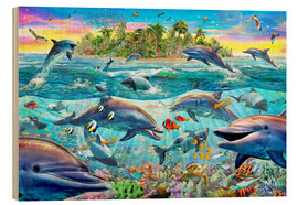 Wood print  Dolphin Reef - Adrian Chesterman