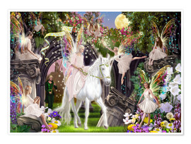 Poster  Fairy Queen with Unicorn - Garry Walton