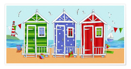 Premium poster Colorful beach huts