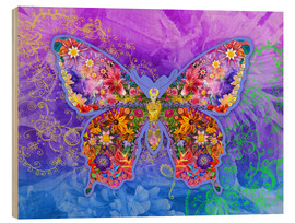 Wood print  Blue Butterfly Floral - Alixandra Mullins