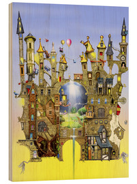 Wood print  Castles in the air - Colin Thompson