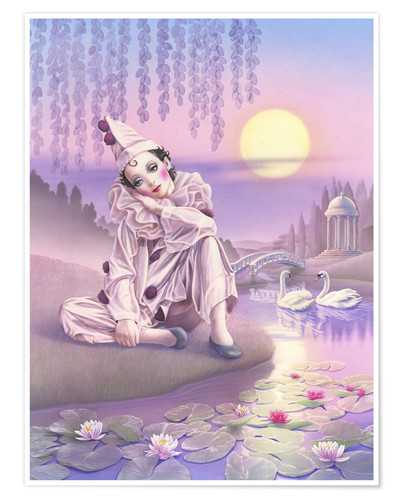 Premium poster Pierrot and swans