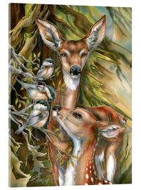 Acrylic glass  Deers and birds - Jody Bergsma